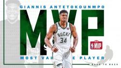 Antetokounmpo gana el de Jugador Más Valioso (MVP) de la NBA