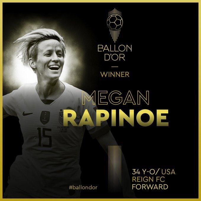La campeona del mundo se impuso por delante de la británica Lucy Bronze, del Olympique de Lyon, y de su compatriota Alex Morgan, del Orlando Pride