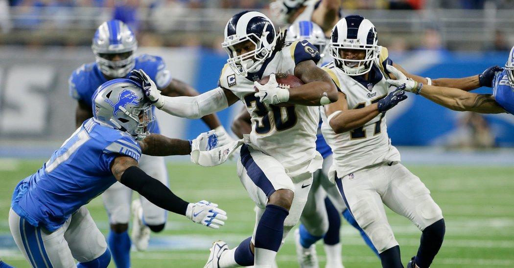 El corredor Todd Gurley avanzó para 132 yardas y dos anotaciones y los Rams superaron a domicilio 16-30 a los Lions de Detroit