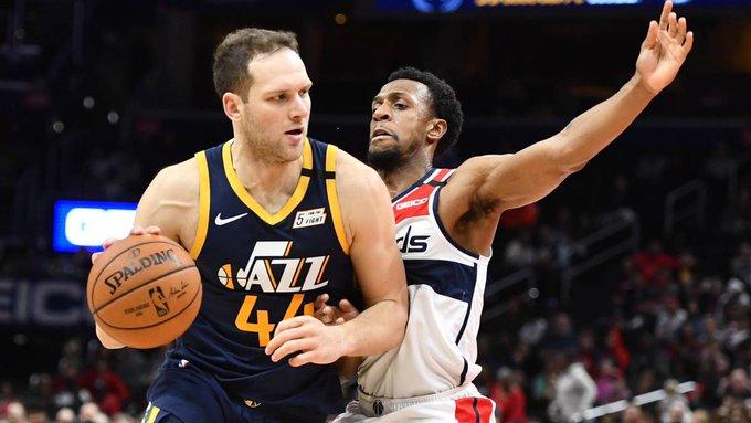 El alero croata Bojan Bogdanovic volvió a ser el líder del ataque de los Jazz y con 31 puntos los guió al triunfo como visitantes por 116-127 ante los Wizards de Washington