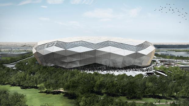 El estadio, que lleva el apelativo de 'Diamante en el desierto', tiene una capacidad para 40.000 personas, en una superficie de 140.000 metros cuadrados