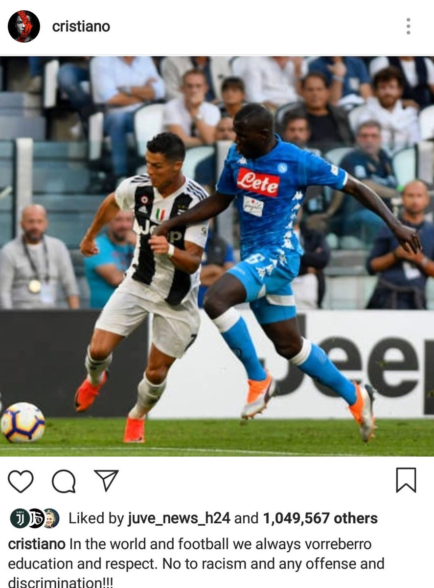 """""""En el mundo del fútbol se necesita siempre educación y respeto. No al racismo y a cualquier forma de discriminación"""", escribió"""